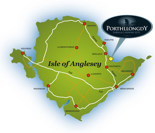 Map of Anglesey - Porthllongdy Farm